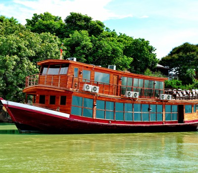 The cruise includes a sunset barbecue on the banks of the river, after you've explore the colossal Mingun Pagoda