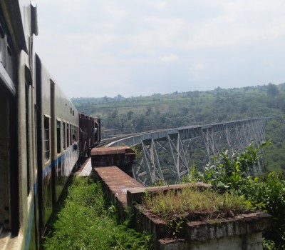 The bridge, built in 1900, was at the time the tallest railway trestle in the world.  Travel across this old structure by train, with great views on either side
